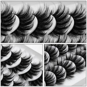 Image 5 - SEXYSHEEP 10 זוגות 3D רך פו מינק ריסים מלאכותיים טבעי מבולגן עפעף חוצה דליל ריסים הארכת עיניים איפור כלים