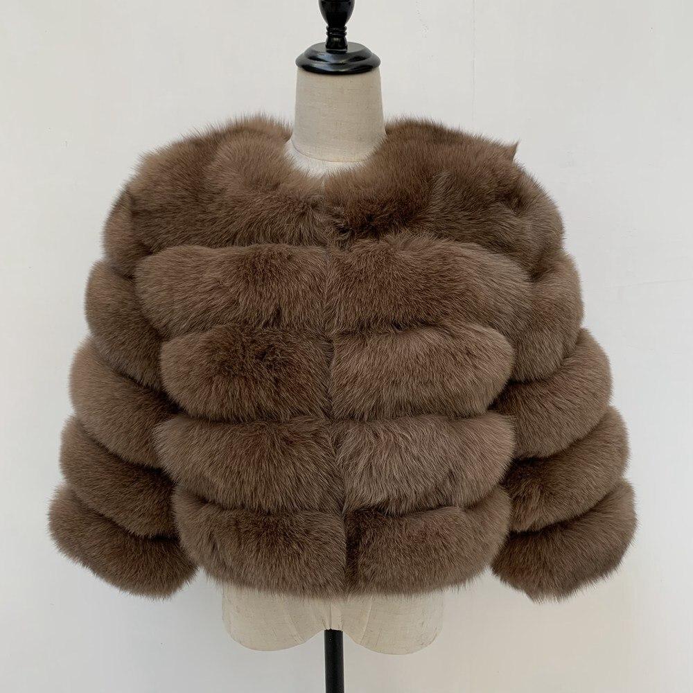 2019 Real Fox Fur Coat Women Warm Real Fox Fur Coat Short Slim Winter Genuine Fur Jacket Fashion Outwear Luxury Natural Fox