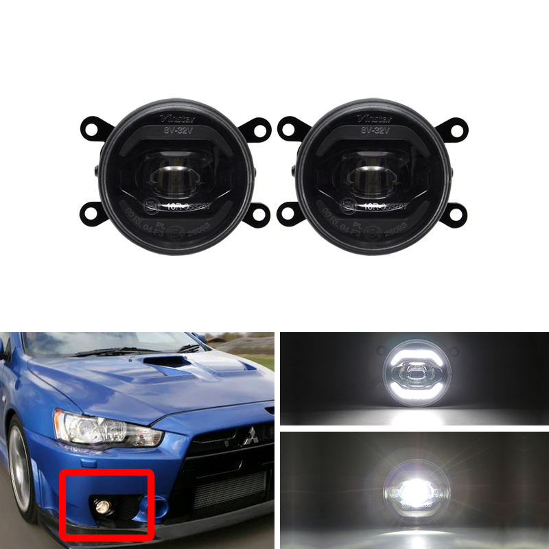 White DRL Halo Led Front Fog <font><b>Light</b></font> Kits For <font><b>Mitsubishi</b></font> <font><b>Outlander</b></font> MK2 Lancer MK8 Grandis ASX Facelift CANbus Error Free image