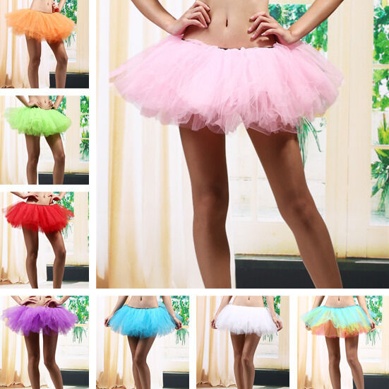 5 Layers Adult Women Tutu Tulle Skirt Petticoat Dance Rave Neon Party Costume
