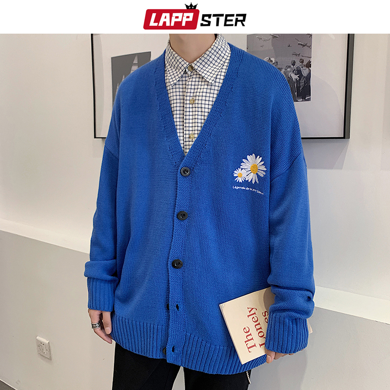 LAPPSTER Men Embroidery Flower Cardigan 2020 Autumn Mens Button Up Winter Knitted Sweater Male Blue Korean Fashions Clothing
