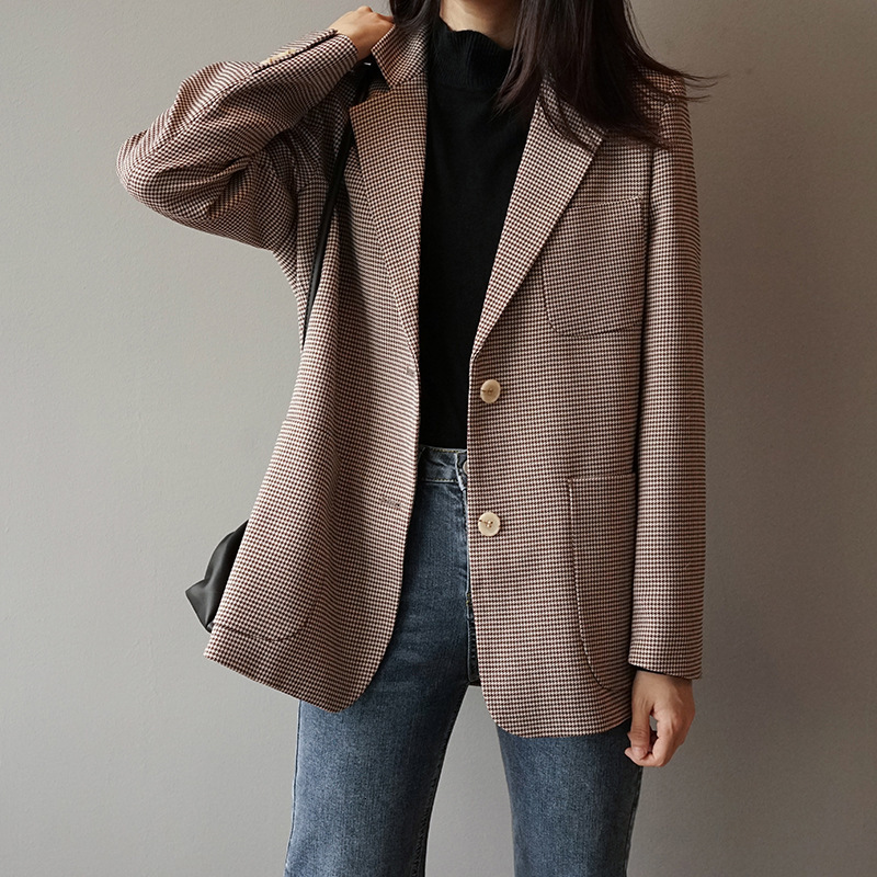 Houndstooth Check Suit Jacket 2019 New Arrival Woman Vintage Lattice Suit Loose Coat England Blazer Tops