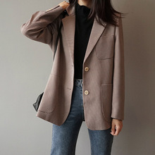 Houndstooth Check Suit Jacket 2019 New Arrival Woman Vintage Lattice Loose Coat England Blazer Tops