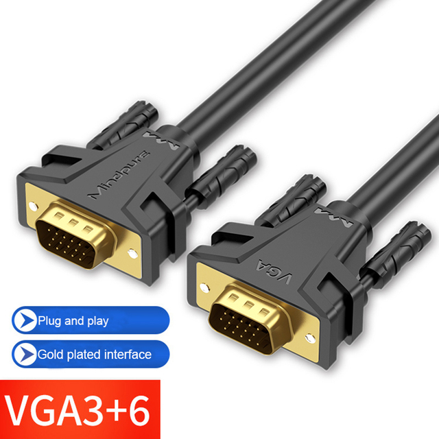 1080P VGA Cable gold plated Connector VGA to VGA Cable for computer projector monitor screen 1.5m 3m 5m 8m 10m 12m 15m 20m