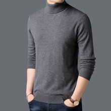 100% Wool Pullovers Warm Turtleneck Mens Sweater High Qualit