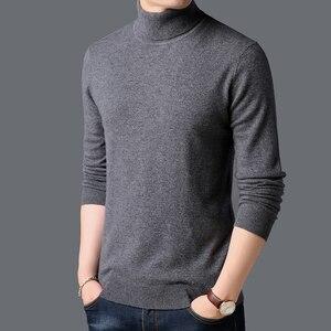 100% Wool Pullovers Warm Turtleneck Mens