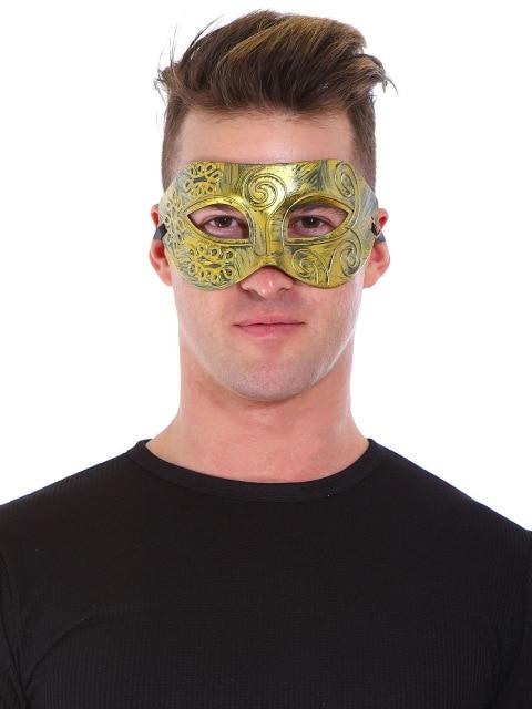 Красивый древний греческий и Римский воины маскарад Хэллоуин маска серебро золото полированный античный шар маска Прямая поставка - Цвет: Золотой