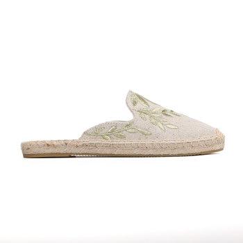 2019 Top Direct Selling Hemp Summer Rubber Print Terlik Mules Slippers Tienda Soludos Espadrilles Slippers For Flat Shoes 1
