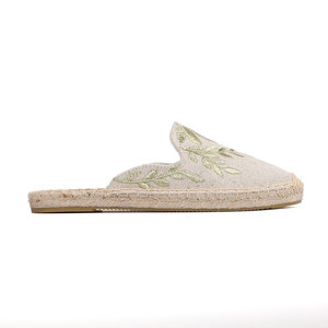 Image 2 - Mules dété en chanvre imprimé, pantoufles en caoutchouc, pour chaussures plates, Tienda Soludos, meilleure vente 2019