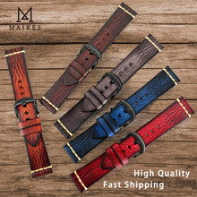 Maikes Genuine Leather Watchband for Galaxy Watch Strap 18mm 20mm 22mm 24mm Watch Band Tissote Timex Omega Wrist Bracelets