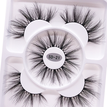 2021 New 3 pairs natural false eyelashes fake lashes long makeup 3d mink lashes eyelash extension mink eyelashes for beauty 1