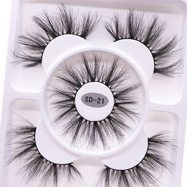 2021 New 3 pairs natural false eyelashes fake lashes long makeup 3d mink lashes eyelash extension mink eyelashes for beauty