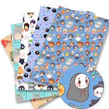 140x50CM ghibli DIY Totoro Cartoon poliester tkanina bawełniana Patchwork tkanki Kid tekstylia domowe szycia sukienka dla lalek kurtyny