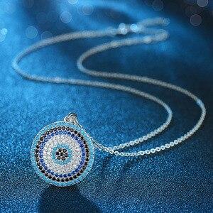 Image 2 - KALETINE 925 فضة القلائد التركية الكبيرة الأزرق حجر عين الشر قلادة مستديرة قلادة المرأة شخصية الرجال المجوهرات