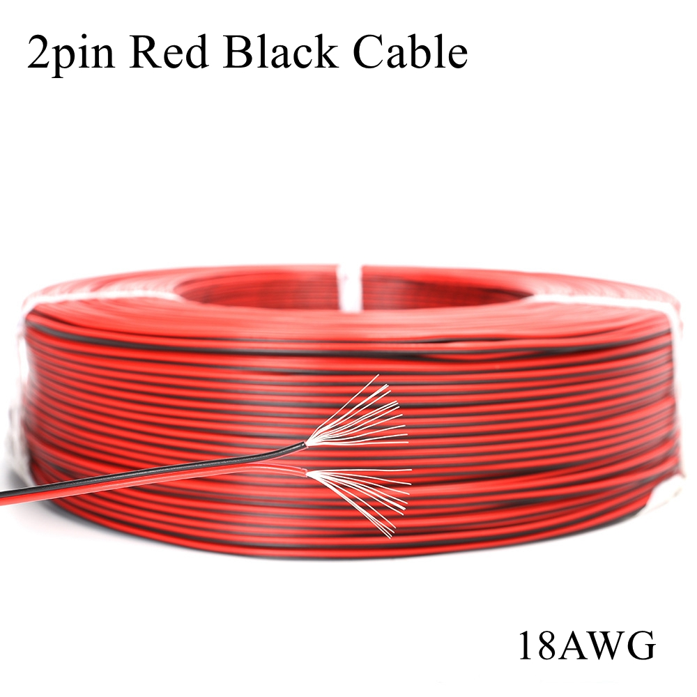 (2 Meter/lot) UL2468 18AWG <font><b>2pin</b></font> Tinned Copper Red Black <font><b>Wire</b></font> PVC Insulated Electric Extension Cable LED Strip Tape String image