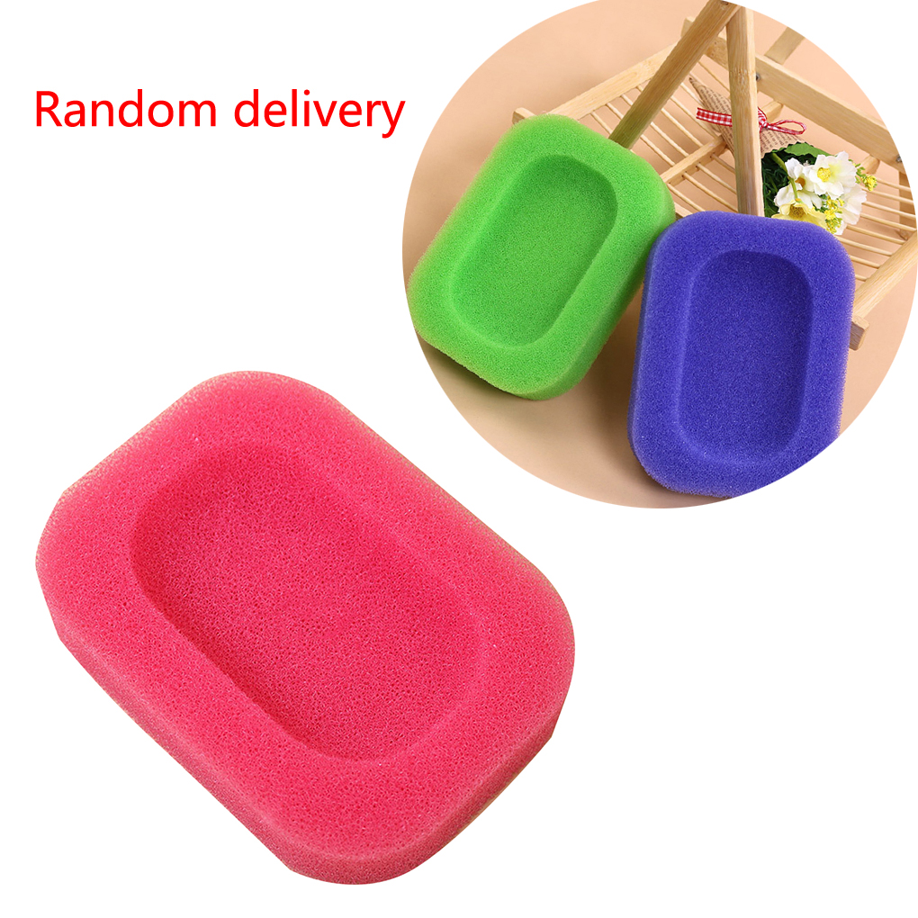 1pc/set Candy Color Sponge Soap Dishes Plate Bathroom Hardware Soap Holder Color Random