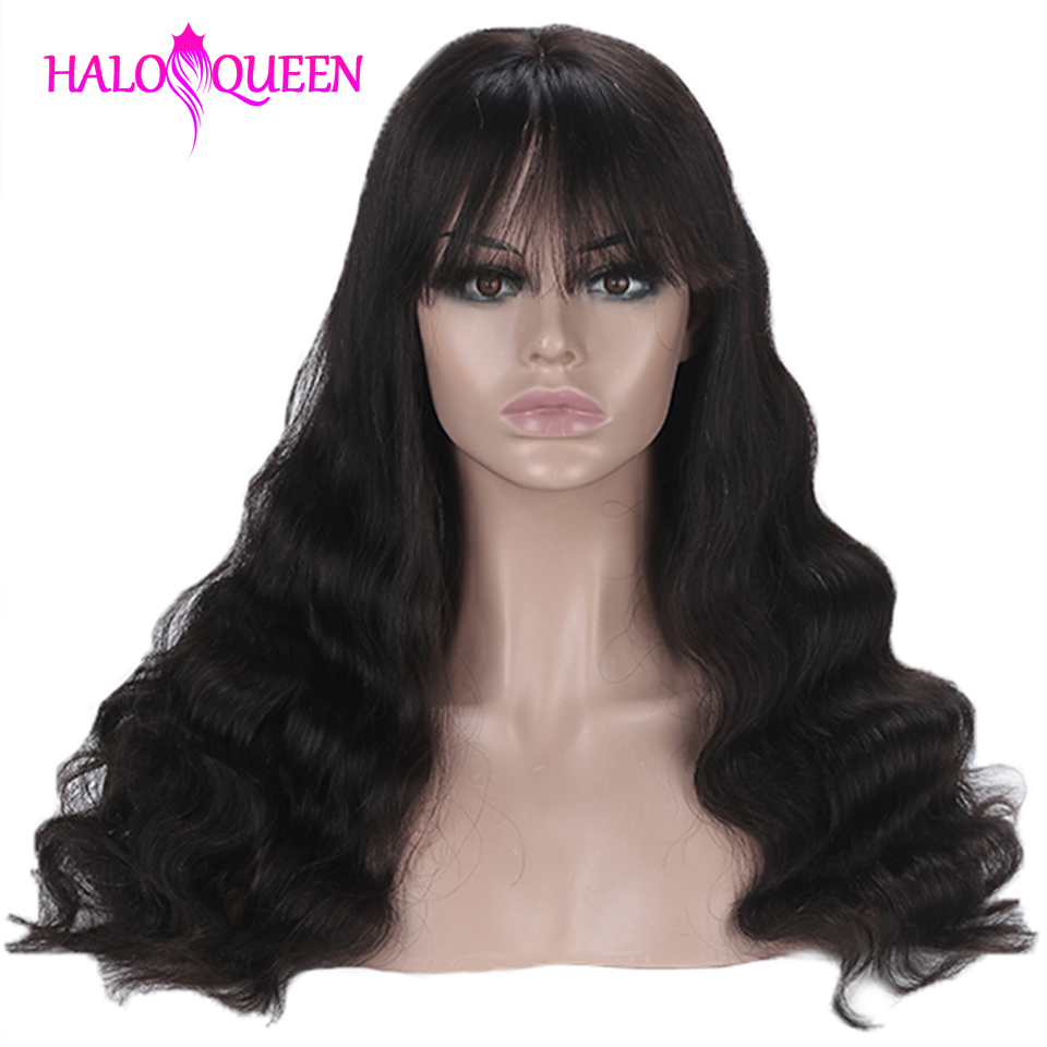 HALOQUEEN Remy Hair Long Hair Natural Color Wig With Bangs Full Machine Made Wig Body Wave Wigs Human Hair Wigs For Black Women