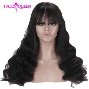 HALOQUEEN Remy Hair Long Hair Natural Color Wig With Bangs Full Machine Made Wig Body Wave Wigs Human Hair Wigs For Black Women(China)