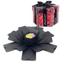 Hexágono surpresa explosão caixa diy artesanal scrapbook álbum de fotos casamento caixa de presente para o natal dos namorados caixas de presente|Material para embrulhos e bolsas de presente| |  -