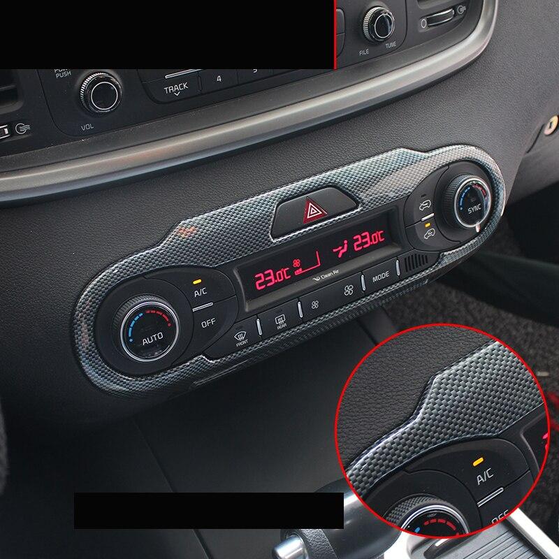 Lsrtw2017  Carbon Fiber Abs Car Air Conditioning Control Panel Frame Trims For Kia Sorento Prime 2015 2016 2017 2018 2019 2020