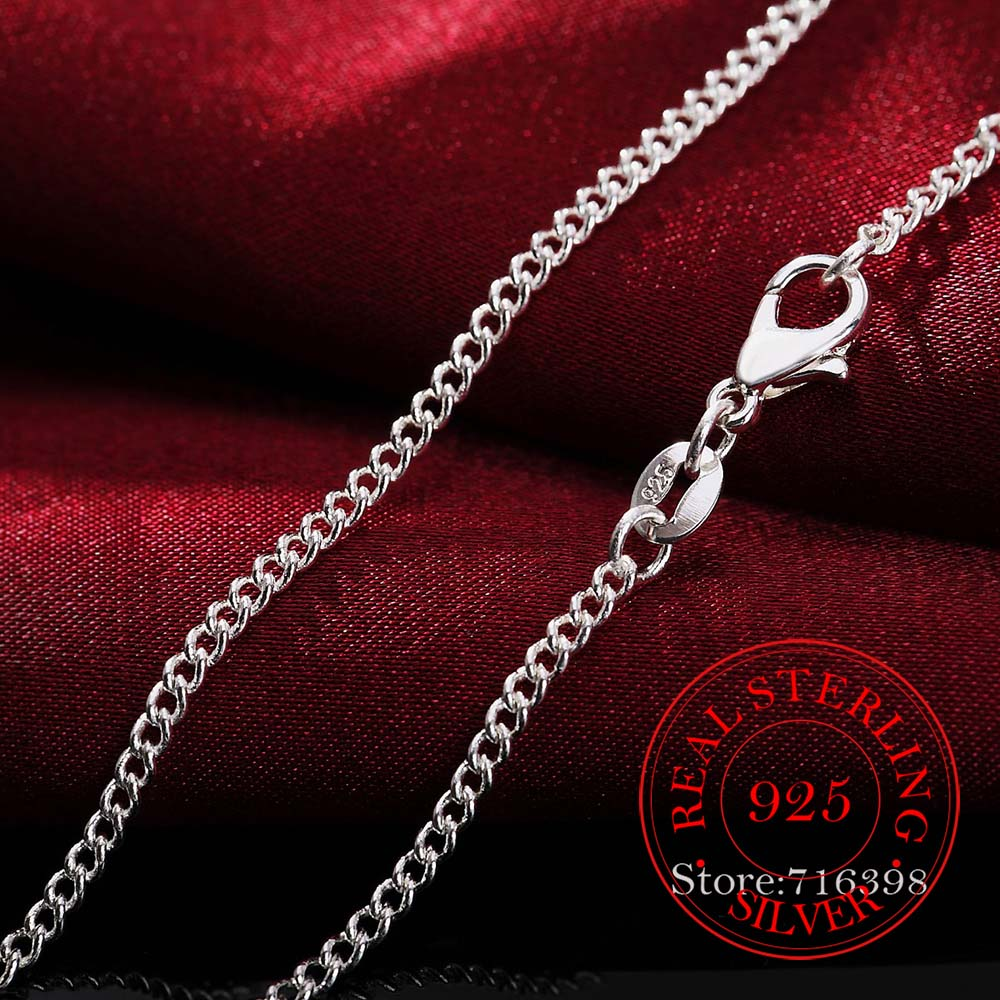 16-30inch Thin Real 925 Sterling Silver 2mm side chain Necklace Women Girls Kids Children 40-75cm Jewelry kolye collares collier 5