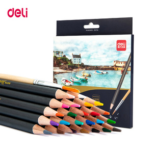 Deli Drawing Colored pencils Watercolor Pencil Art Set School painting supplies with watercolor brush 24/36/48Colors