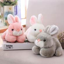 Simulation Crawling Rabbit Animal Plush Stuffed Doll Home Sofa Decor Kids Toy New Realistic crawling rabbit design look adorable(China)
