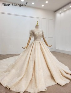 Image 3 - Luxury Crystals Lace Ball Gowns Wedding Dresses for Women Saudi Arabian Elegant Princess Half Sleeves Beaded Bridal Gowns 2020