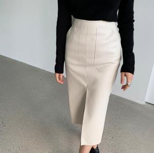 Image 2 - Jupe crayon en cuir PU pour femmes de bureau, Double poches, emballage taille haute, hanches mi longues, nouveauté 2020