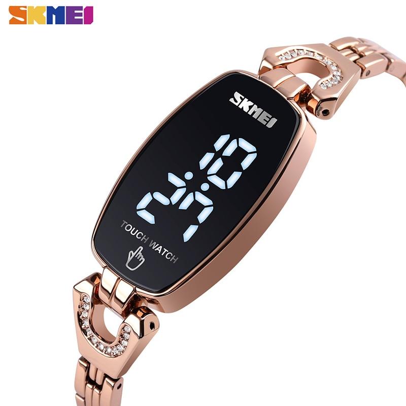 SKMEI LED Touch Women Watches Fashion Diamond Slim Digital Women Wristwatches Stainless Steel Strap Waterproof reloj mujer 1588