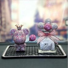 Auto dekoration kreative nette high end hand made diamant violent bär auto innen parfüm flasche auto dekoration geschenk
