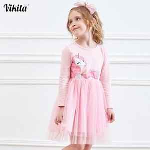 VIKITA Girls Dress Long Sleeve Kids Flower Dresses Children Unicorn Vestidos 2020 Girls Dresses Autumn Kids Dress For Girl(China)