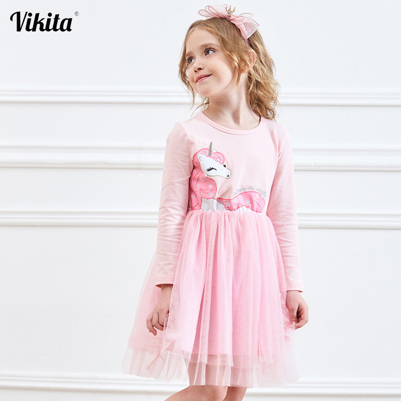 VIKITA Girls Dress Long Sleeve Kids Flower Dresses Children Unicorn Vestidos 2020 Girls Dresses Autumn Kids Dress For Girl
