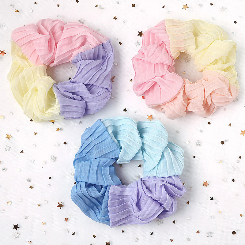 2019 New Oversized Three-color Chiffon Hair Scrunchie Elastic Hair Rope Rubber Bands Women Girls Korean Sweet Hair Accessories
