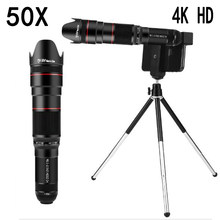 HD 50X Phone Lens Camera Telephoto Zoom Monocular Telescope Lens SelfieTripod For All Smartphones Adjustable Cell Phone Lenses
