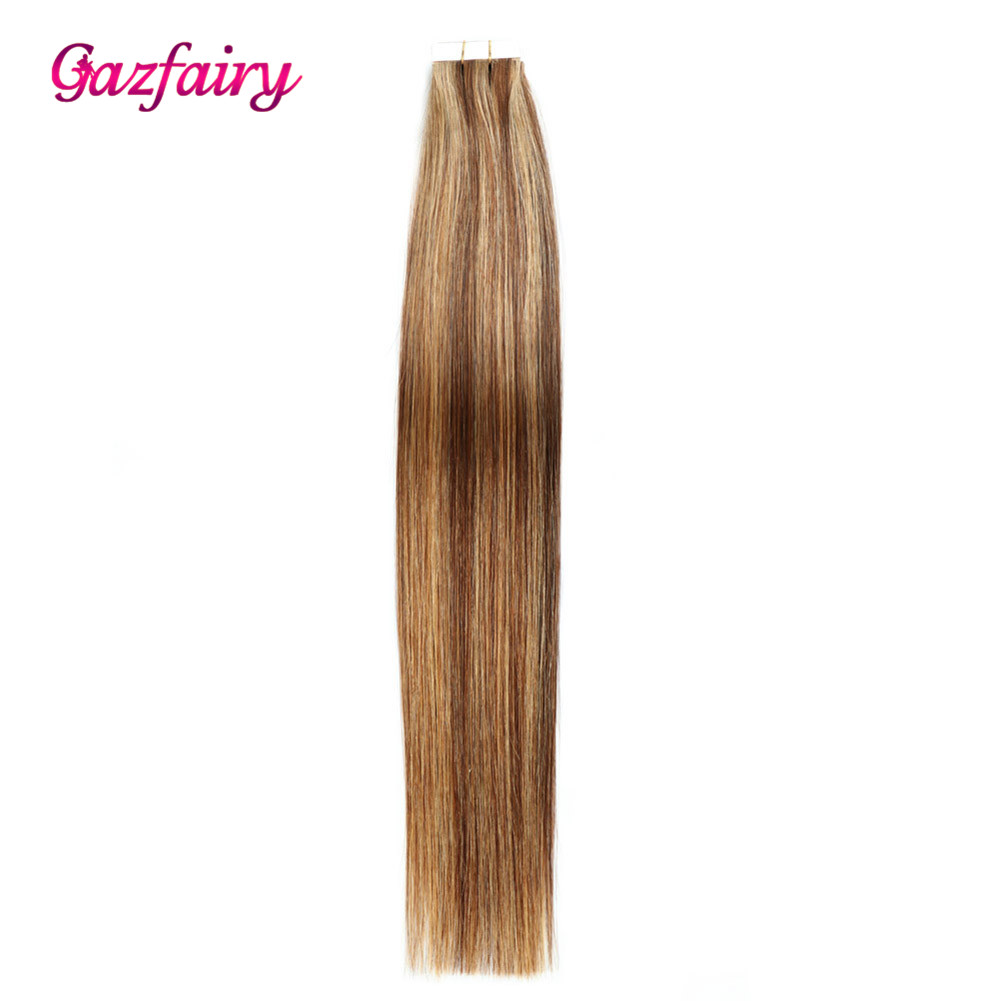 Gazfairy Straight PU Skin Weft Hand Tied Hair Tape In Remy Hair Extensions Full Cuticle Double Sided 16