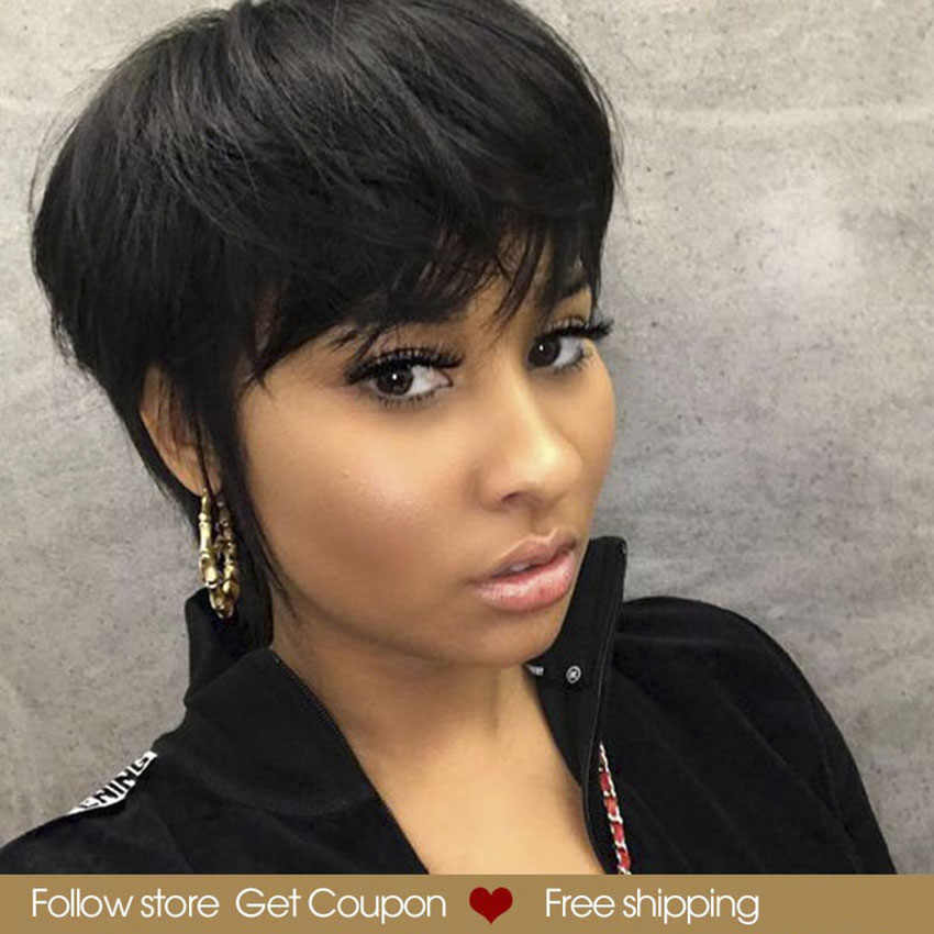 Short Pixie Cut Wig Straight Hair Wig Peruvian Remy Loose Curly Human Hair Wigs For Black Women Mix Color Red Bob Wig With Bangs Human Hair Lace Wigs Aliexpress