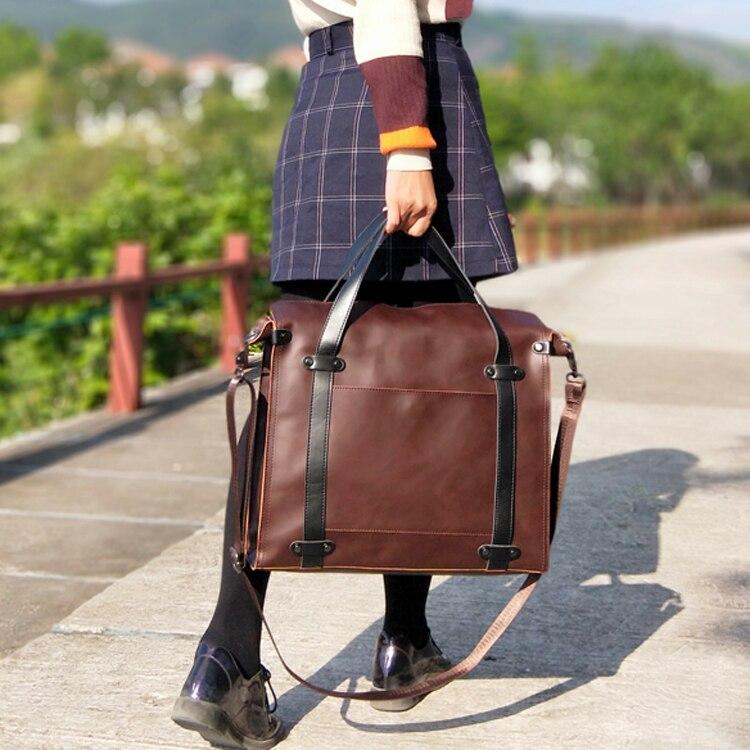 Retro Fashion Women Handbag Female 15.6 Inch Laptop Briefcase Travel Bag Leather Shoulder Messenger Bags Large Capacity Business