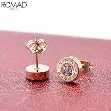 ROMAD Stainless Steel Earrings For Women/Men Small Zircon Rose Gold Roman Letter Girl Lovers Punk aretes R5