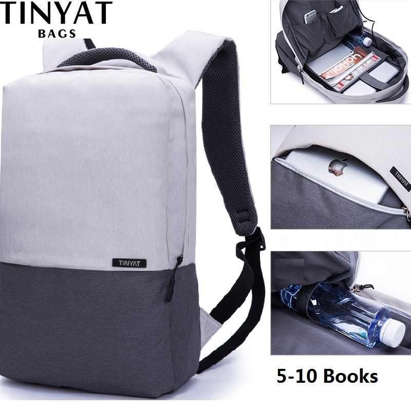 TINYAT กระเป๋าเป้สะพายหลังแล็ปท็อปสำหรับ 15.6 นิ้ว USB ชาร์จกระเป๋าเป้สะพายหลังคอมพิวเตอร์ Anti-Theft กระเป๋าเป้สะพายหลังกระเป๋าเดินทางผู้หญิง mochila