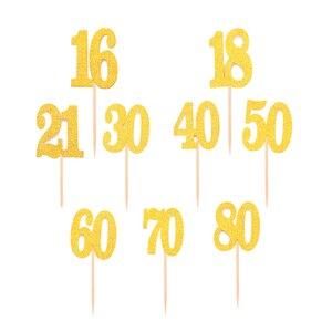 10/20 шт 16 18 21 30 40 50 60 70 80 лет День рождения кекс торт топперы для взрослых юбилейные праздничные украшения поставки 30th 50th