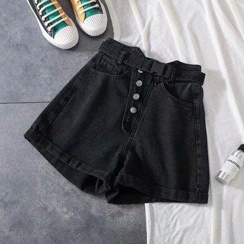 2020 Summer Vintage High Waist Denim Shorts Women Korean Style Casual Roll Up Pocket Blue Shorts Jeans roll up hem denim shorts with belt