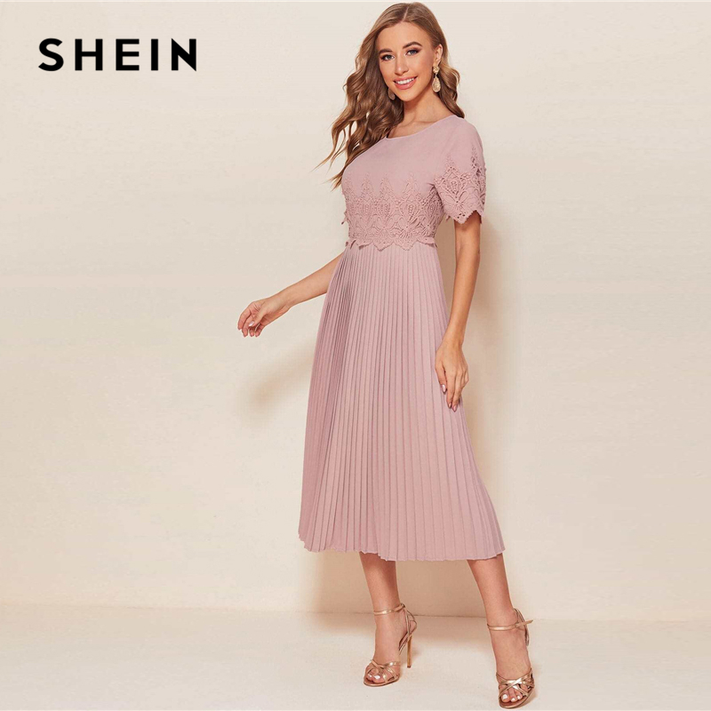SHEIN Dusty Pink Guipure Lace Accordion Pleated Long Dress Women Autumn Round Neck A Line High Waist Abaya Elegant Dresses|Dresses| - AliExpress