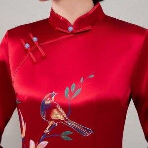 Image 4 - Quinceanera מכירה מעל הברך, מיני אצטט סאטן חתונה טוסט Cheongsam השתפר רטרו Slim ארוך יד ציור חדש סתיו 2020