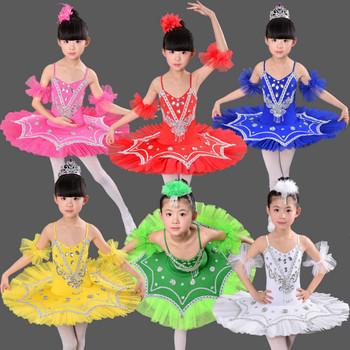 Kids Sequined white Swan Lake Ballet dance dress Professional Tutu dress costumes Girls Stage wear Party performance dress 2016 limited polyester girl dress christmas dress vestidos the new tutu dance clothes and stage costumes for girls ballet 1555