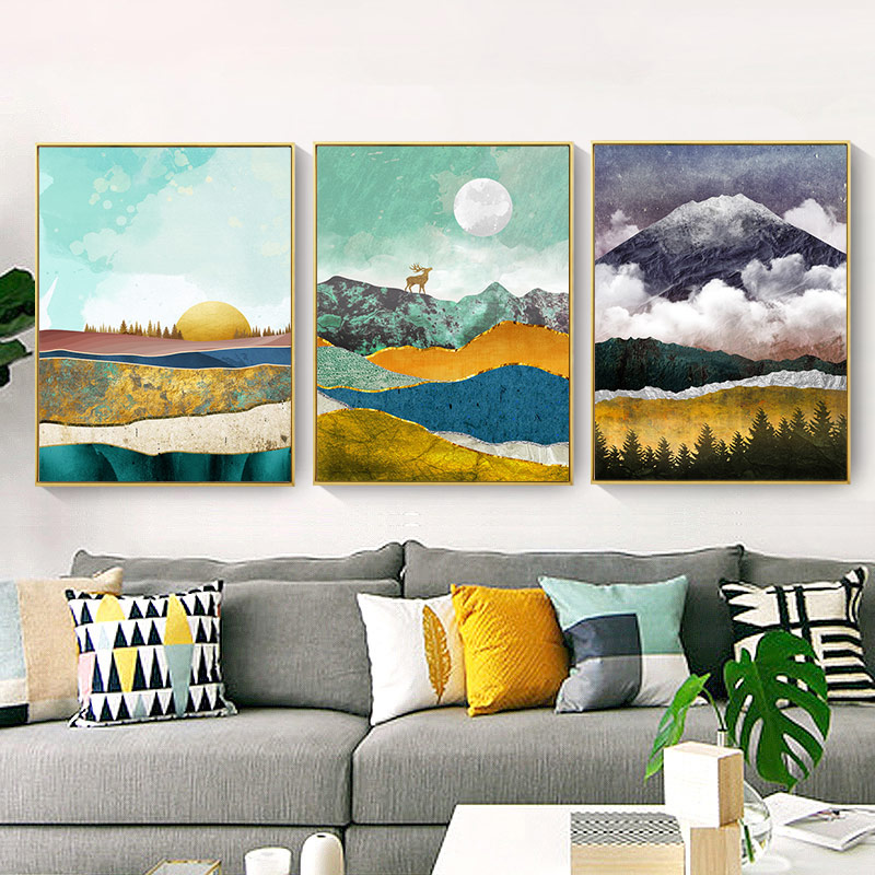 Nordic Abstract Wall Art Geometric Mountain Landscape Art Print Posters Canvas Painting Gold Sun Wall Picture Wall Stickers