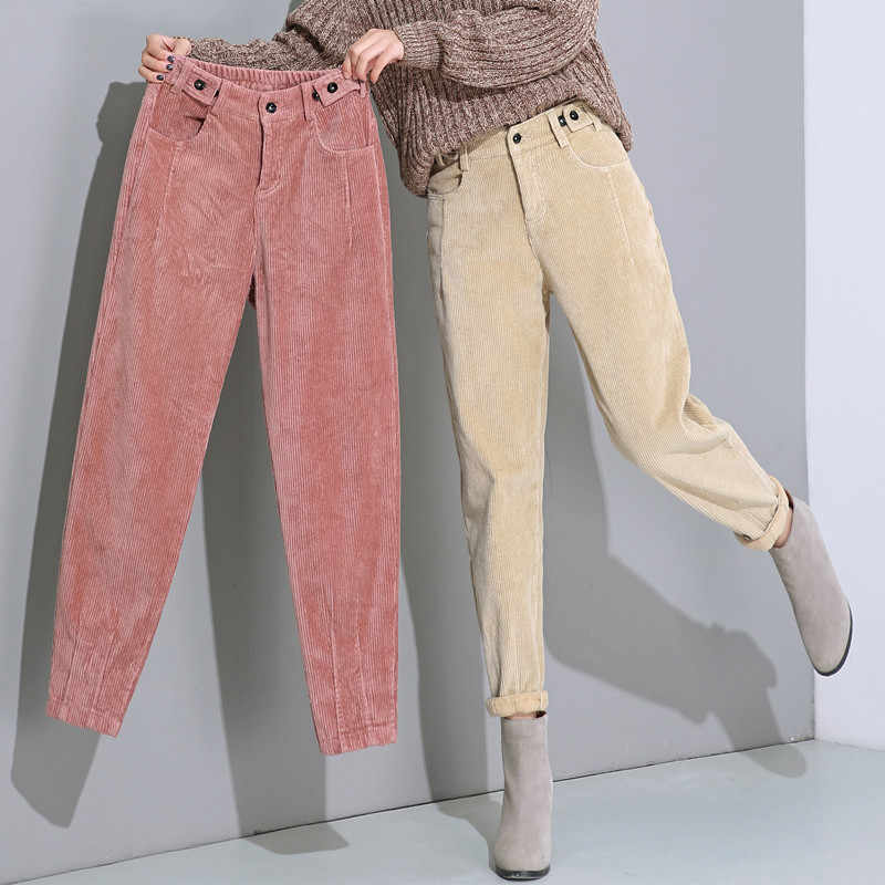 Autumn Winter High Waist Corduroy Harem Pants Women Plus Size Loose Black Pants Women Long Plus Velvet Trousers Sweatpants C5803