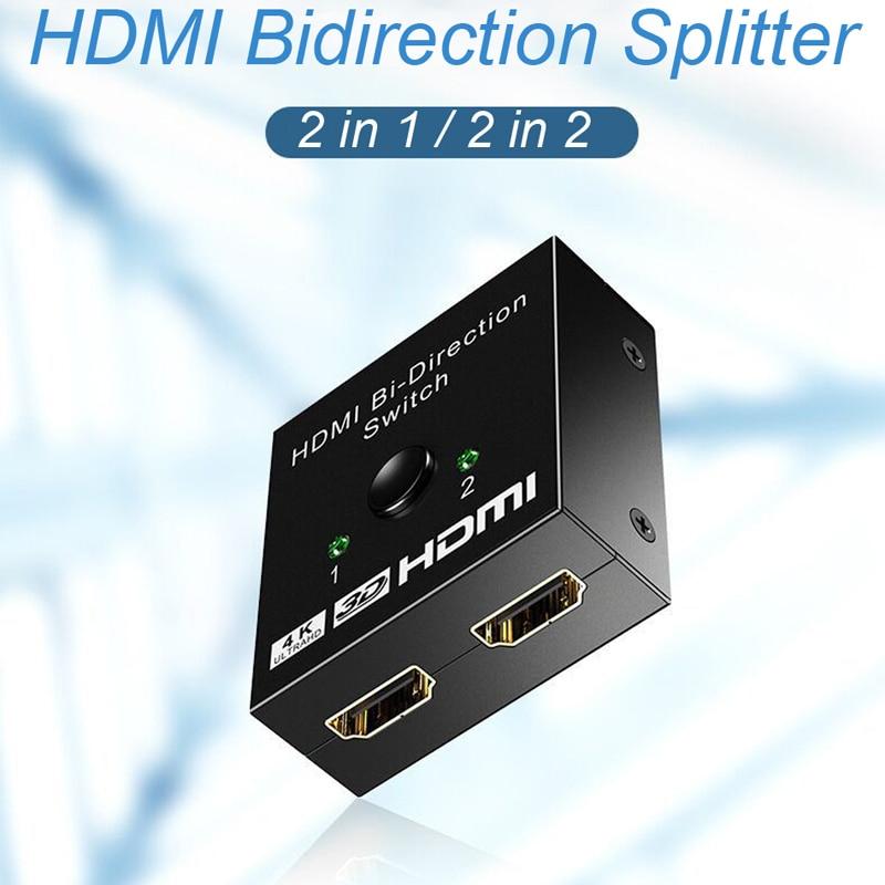 Commutateur HDMI 2 entrées 1 vers 2 directions, commutateur HDMI 2.0, 4K, adaptateur pour PS3, PS4, TV, Xbox, HDTV, HDMI 1080P