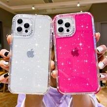 Glitter doces cor à prova de choque pára-choques caso de telefone para o iphone 12 11 pro max xr x xs max 7 8 plus se 2 camada dupla transparente capa