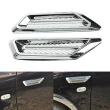 2pcs DIY Car 3D Shark gill Side Air Vent Fender Cover Hole Intake Duct Flow Grille Decoration Sticker Car Side Vents Cover keizik k a333 8 led shark gill solar side vent warning light black